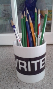 sharpened pencils in writer mug